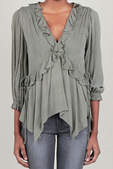 Olive Ruffled Top