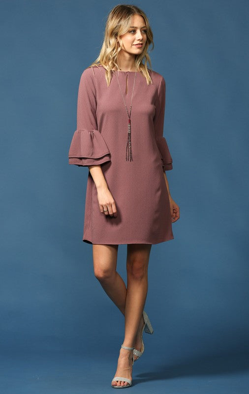 Ruffled Bell Sleeve Dress in Orchid