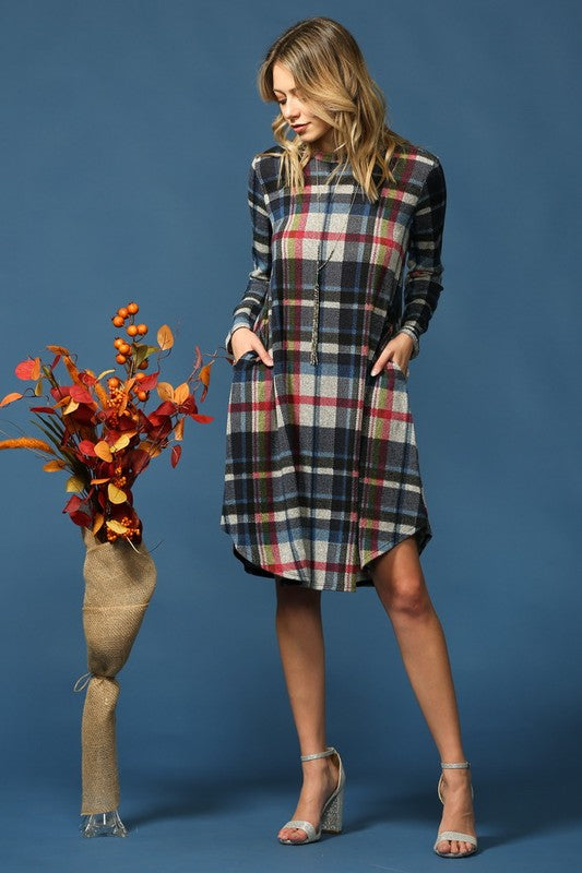 Plaid Long Sleeve Dress in Navy