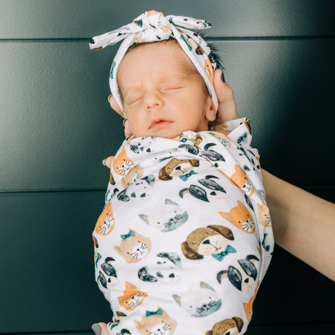Spot and Dot Swaddle Blanket & Headband Set