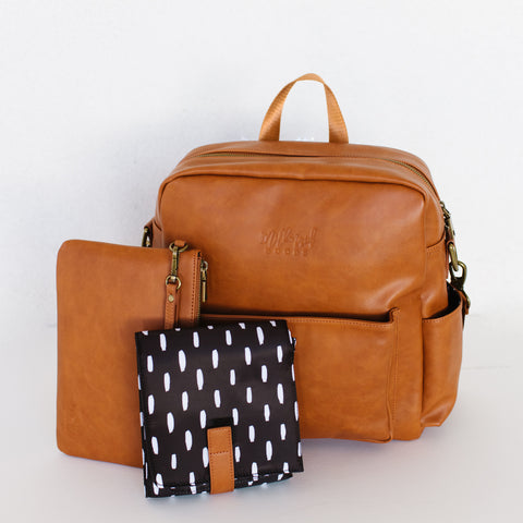 Brooklyn Backpack in Cognac with Modern Lines Interior