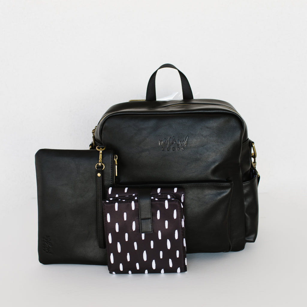 Brooklyn Backpack in Black with White Dot Interior
