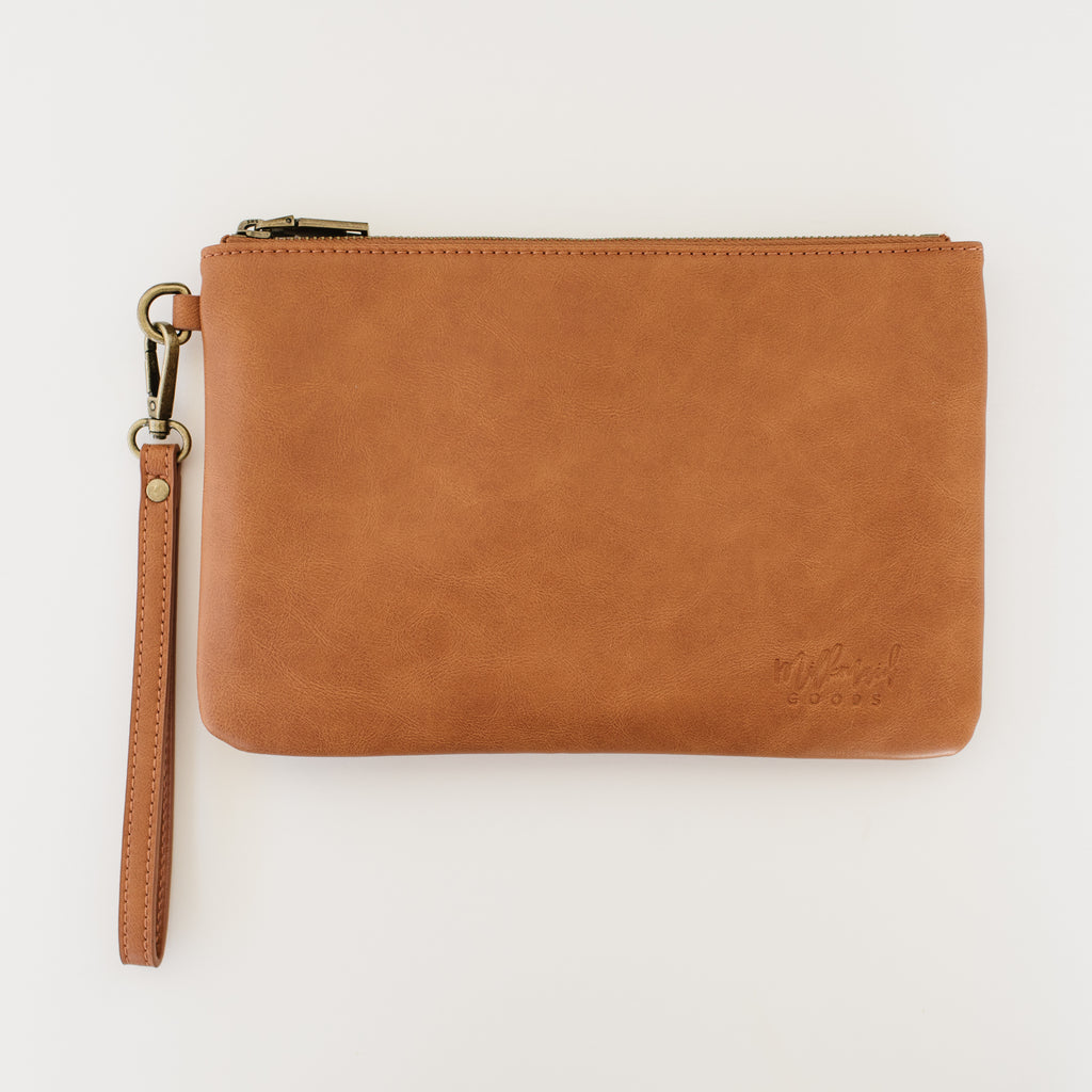 Cognac Clutch with Modern Lines Interior