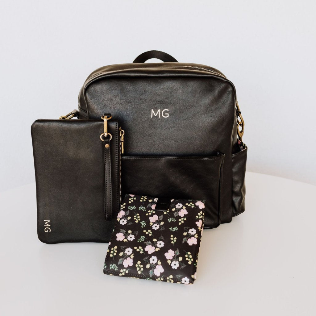 Brooklyn Backpack in Black with Floral Interior