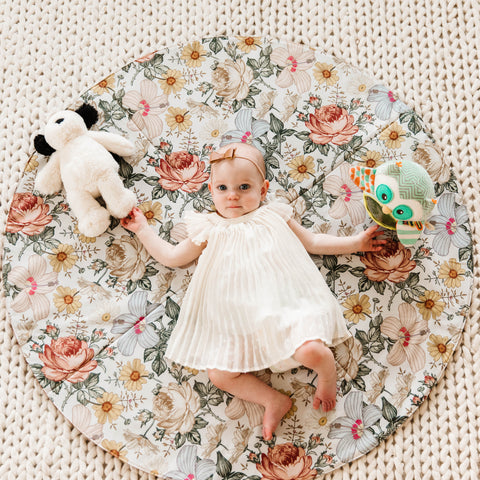 Round Cognac Reversible Playmat in Hattie