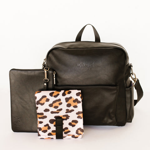 Brooklyn Backpack in Black with Leopard Interior