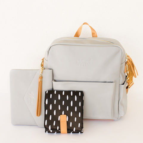 Grey Midi Backpack with Modern Lines Interior