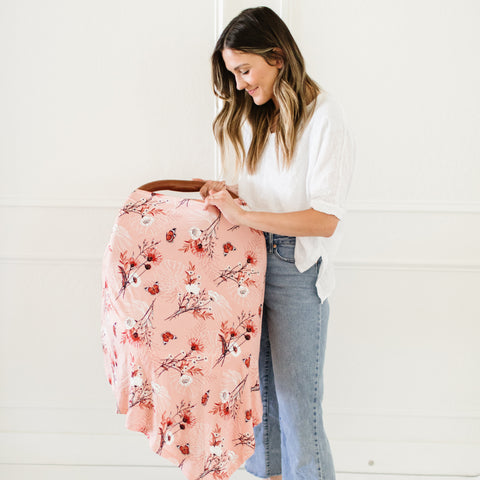 Peach Butterfly Nursing Poncho & Car Seat Cover