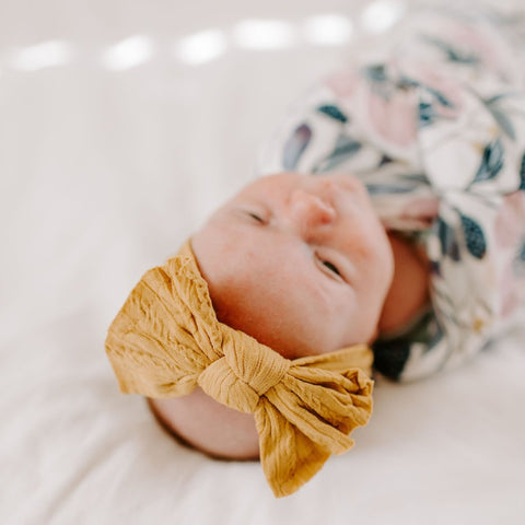 Cable Knit Bow - Mustard