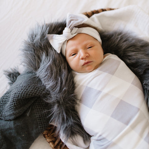 Grey Buffalo Swaddle Blanket and Headband Set