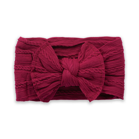 Cable Knit Bow - Berry