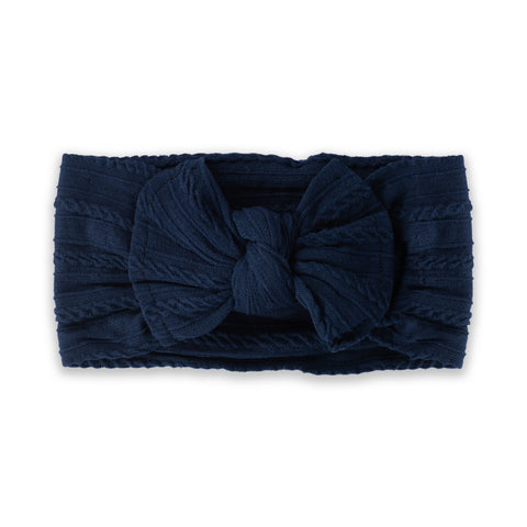 Cable Knit Bow - Navy