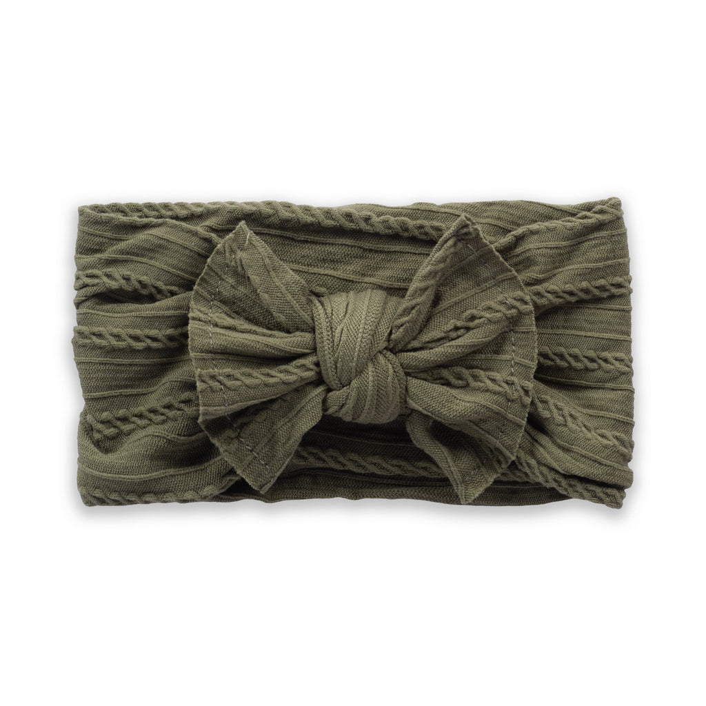 Cable Knit Bow - Army Green