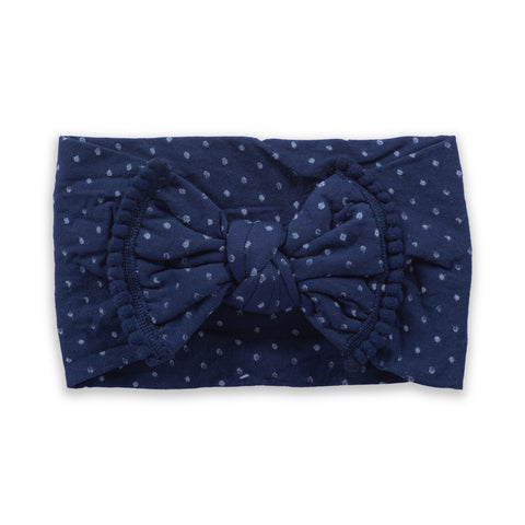 Polka Dot Bow - Navy