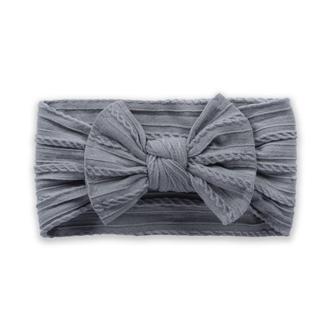Cable Knit Bow - Grey