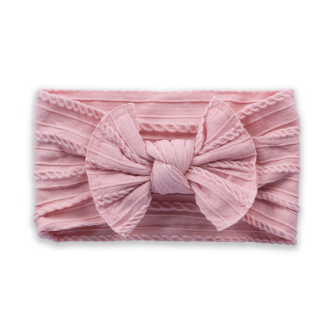 Cable Knit Bow - Mauve