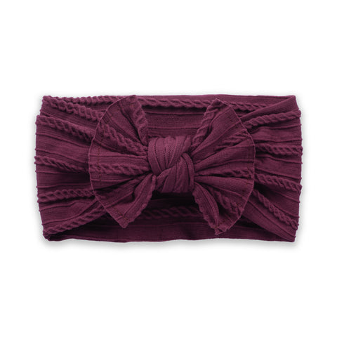 Cable Knit Bow - Boysenberry