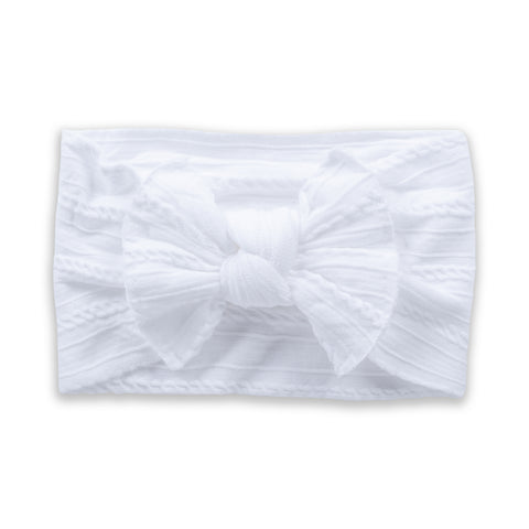 Cable Knit Bow - White