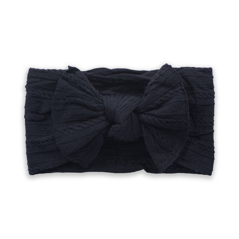 Cable Knit Bow - Black