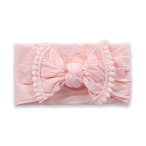 Pom Pom Bow-Light Pink