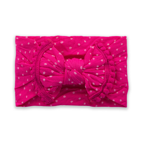 Polka Dot Bow - Fuschia