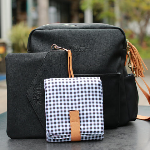 Midi Backpack - Black With Plaid