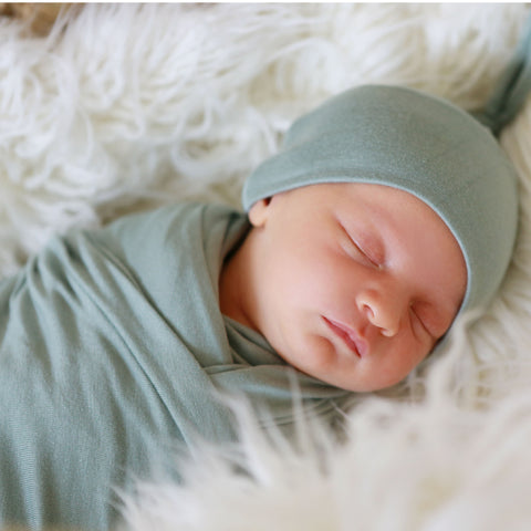 Seafoam Swaddle and Hat Set