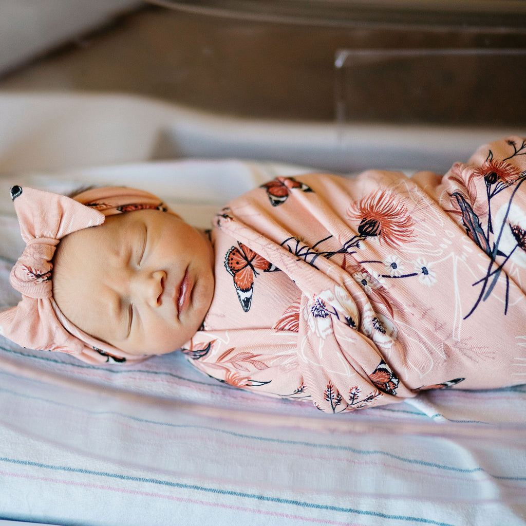 Peach Butterfly Swaddle Blanket & Headband Set