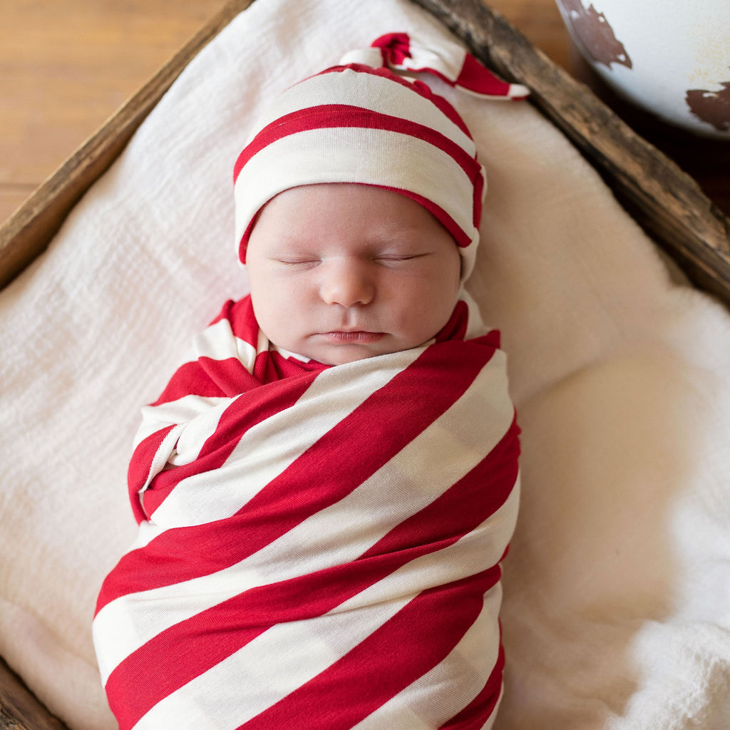 Candy Cane Swaddle and Hat Set