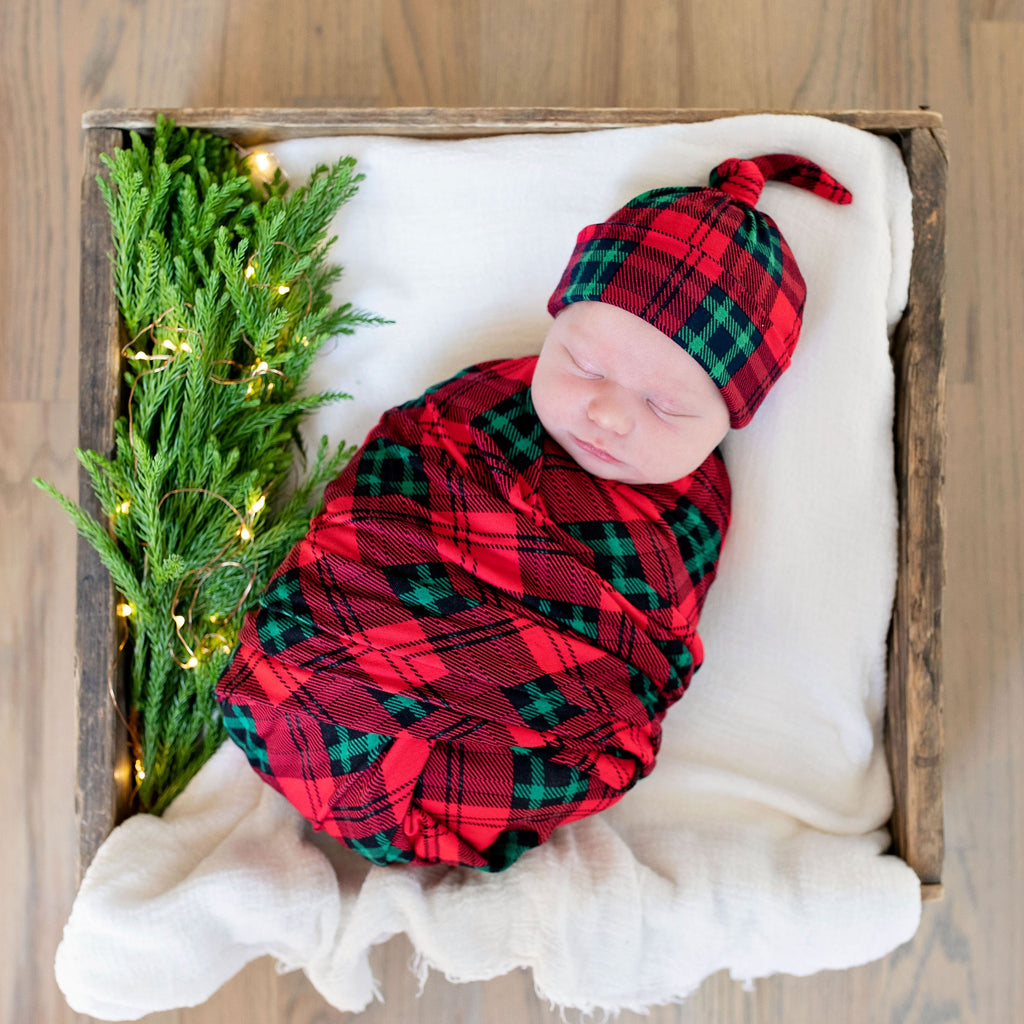 Christmas Plaid Swaddle and Hat Set