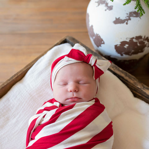 Candy Cane Swaddle Blanket and Headband Set