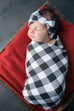 Surprise Gender Buffalo Swaddle, Headband, and Hat Set