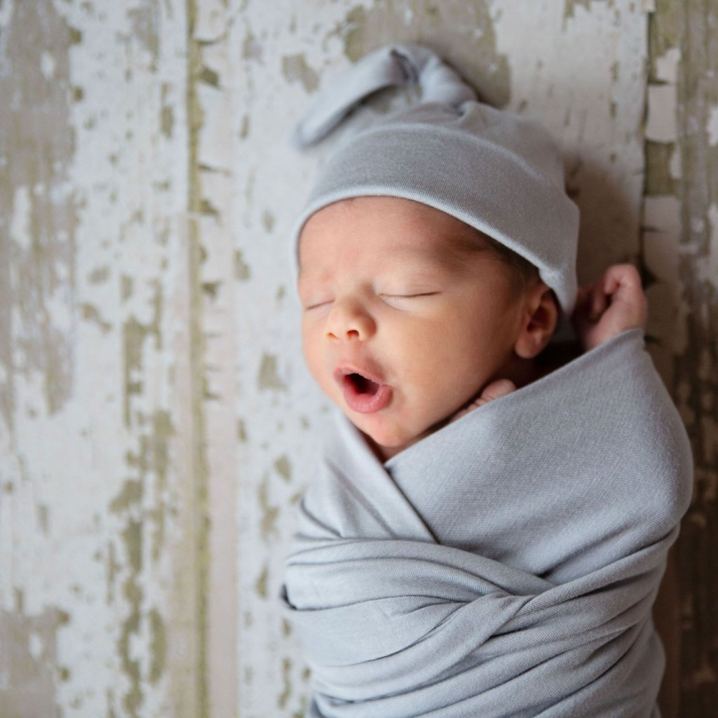 Silver Swaddle Blanket and Hat Set