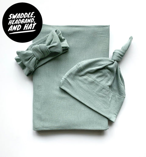 Surprise Gender Seafoam Swaddle, Headband, and Hat Set