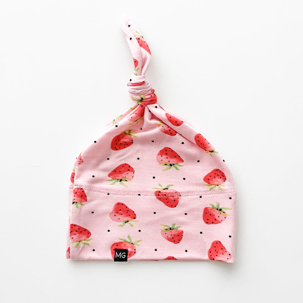 Strawberry Dot Top Knot Hat