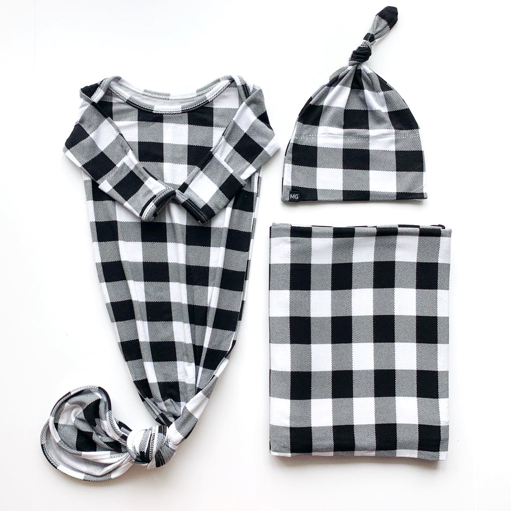 Knotted Gown Bundle in Buffalo Plaid