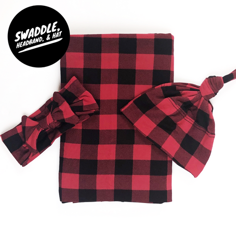 Surprise Gender Lumberjack Swaddle, Headband, and Hat Set