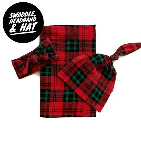 Surprise Gender Christmas Plaid Swaddle, Headband, and Hat Set