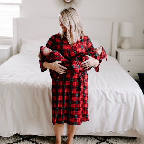 Christmas Plaid Milkmaid Robe