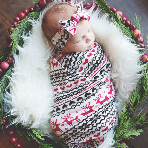 Winter Reindeer Swaddle Blanket & Headband Set