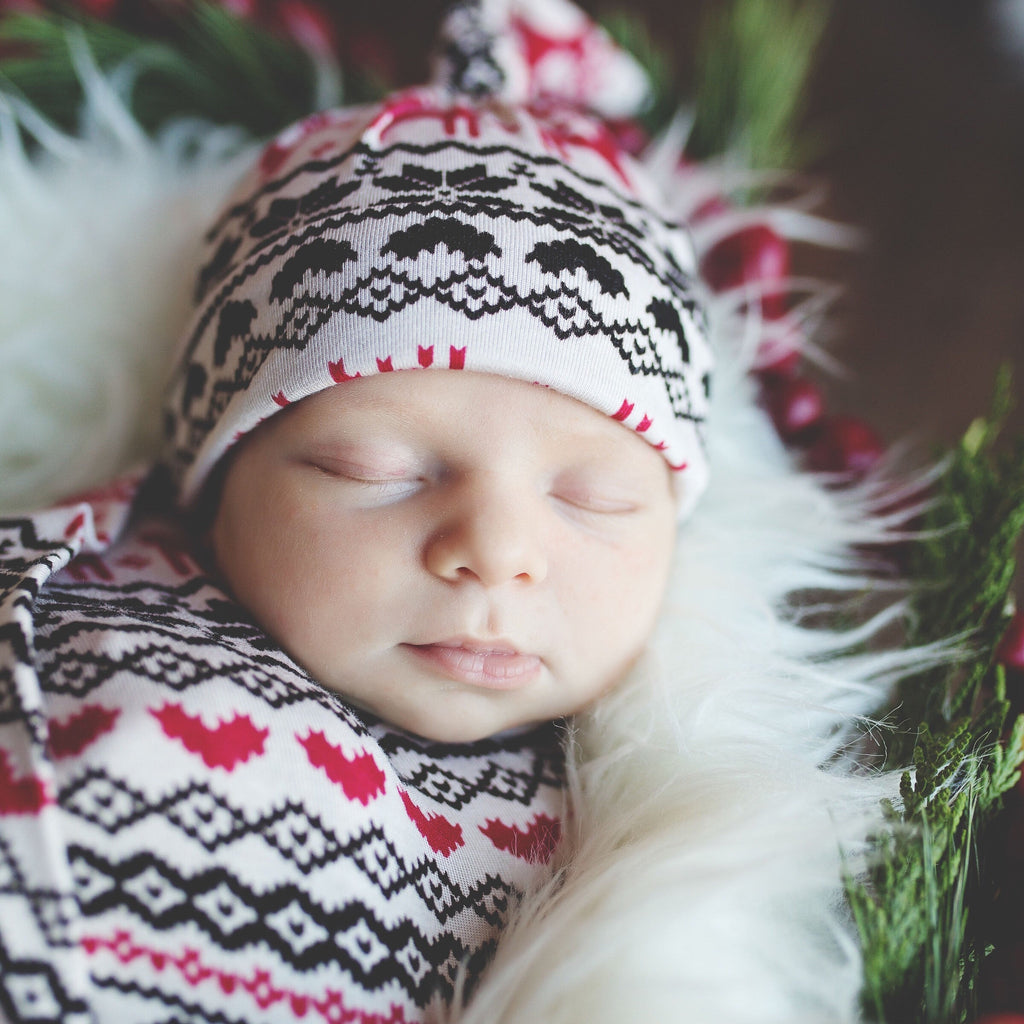 Winter Reindeer Swaddle Blanket and Hat Set