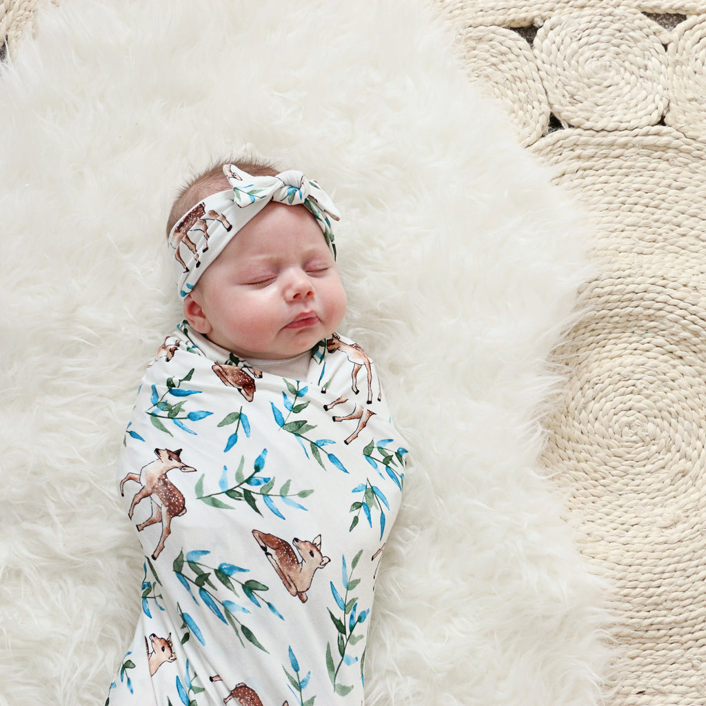 Fawn Swaddle Blanket & Headband Set
