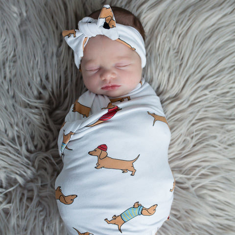 Doxie Swaddle Blanket & Headband Set