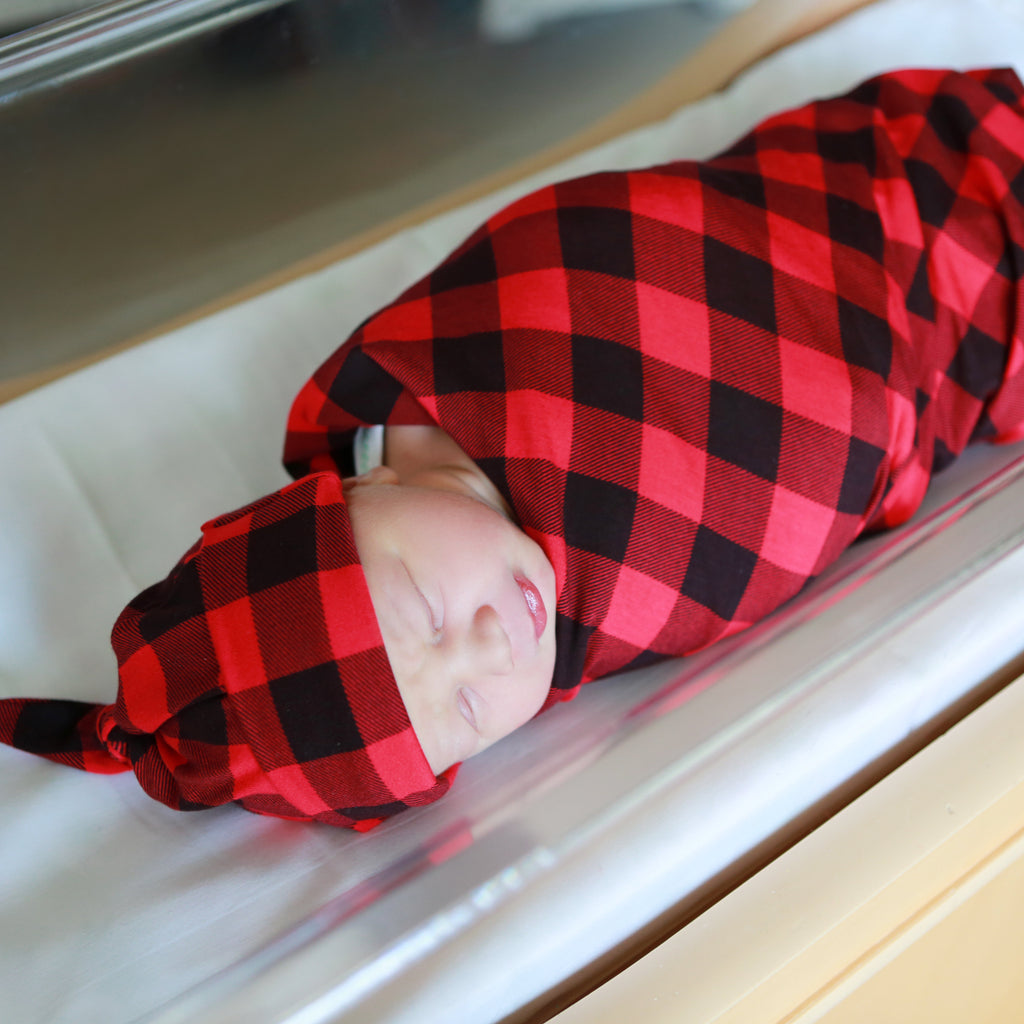 Red Lumberjack Swaddle and Hat Set