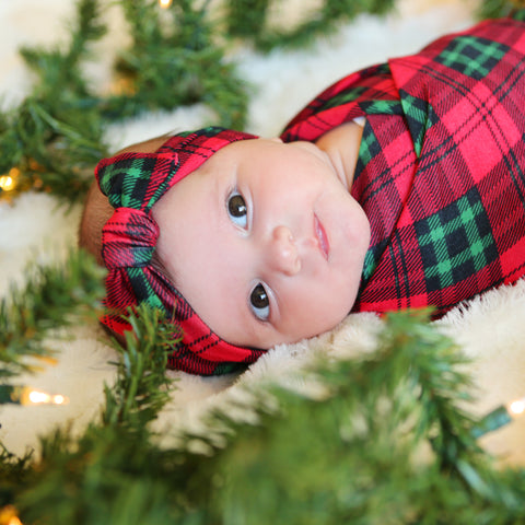 Christmas Plaid Swaddle Blanket and Headband Set
