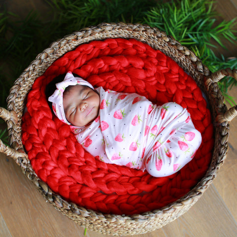 Strawberry Dot Swaddle Blanket & Headband Set