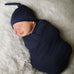 Navy Swaddle and Hat Set