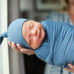 Pacific Blue Swaddle and Hat Set