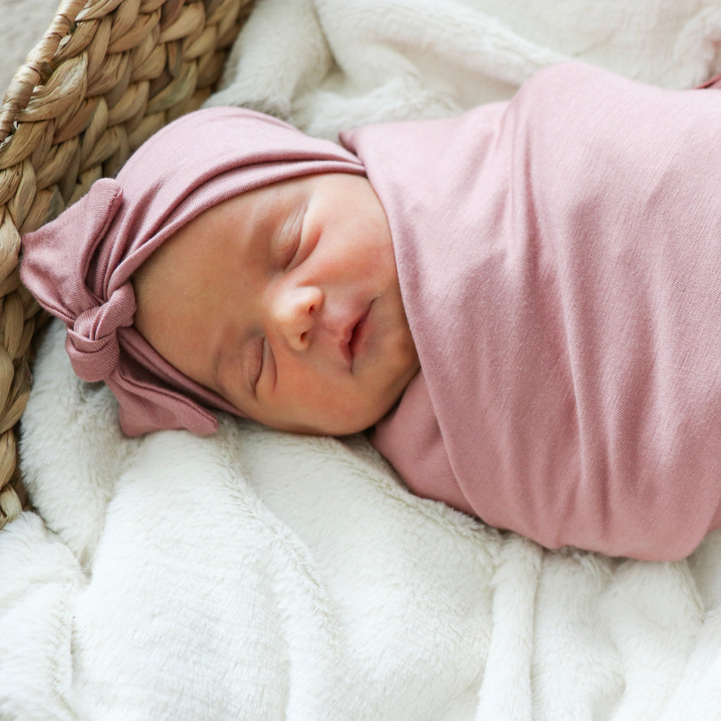 Mauve Swaddle and Headband Set