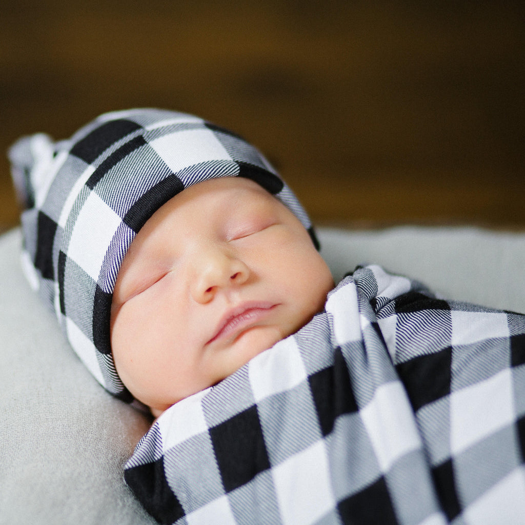 Swaddle Set - Buffalo Plaid Swaddle And Hat Set
